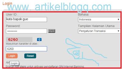 gambar cara login Internet Banking BNI