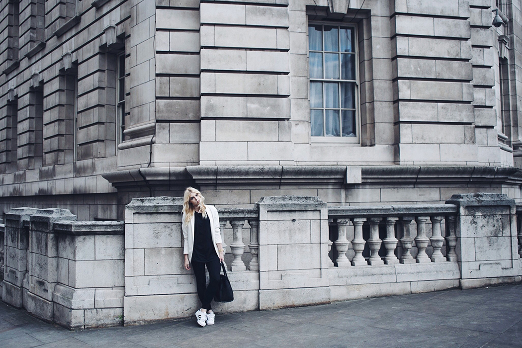 London fashion blogger white blazer and Adidas Superstars outfit