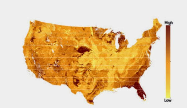 This heat map shows the areas of the United States where the soil microbial biomass is susceptible to changes in vegetation cover. (Credit: Image courtesy of Yale School of Forestry & Environmental Studies) Click to enlarge.