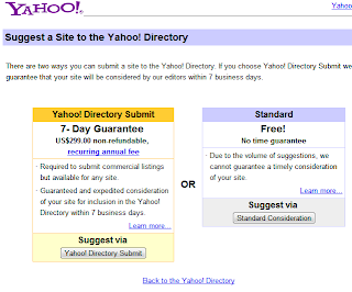 Submit blog pada yahoo directory