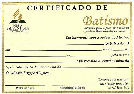 Secretaria IASD F C Certificado De Batismo