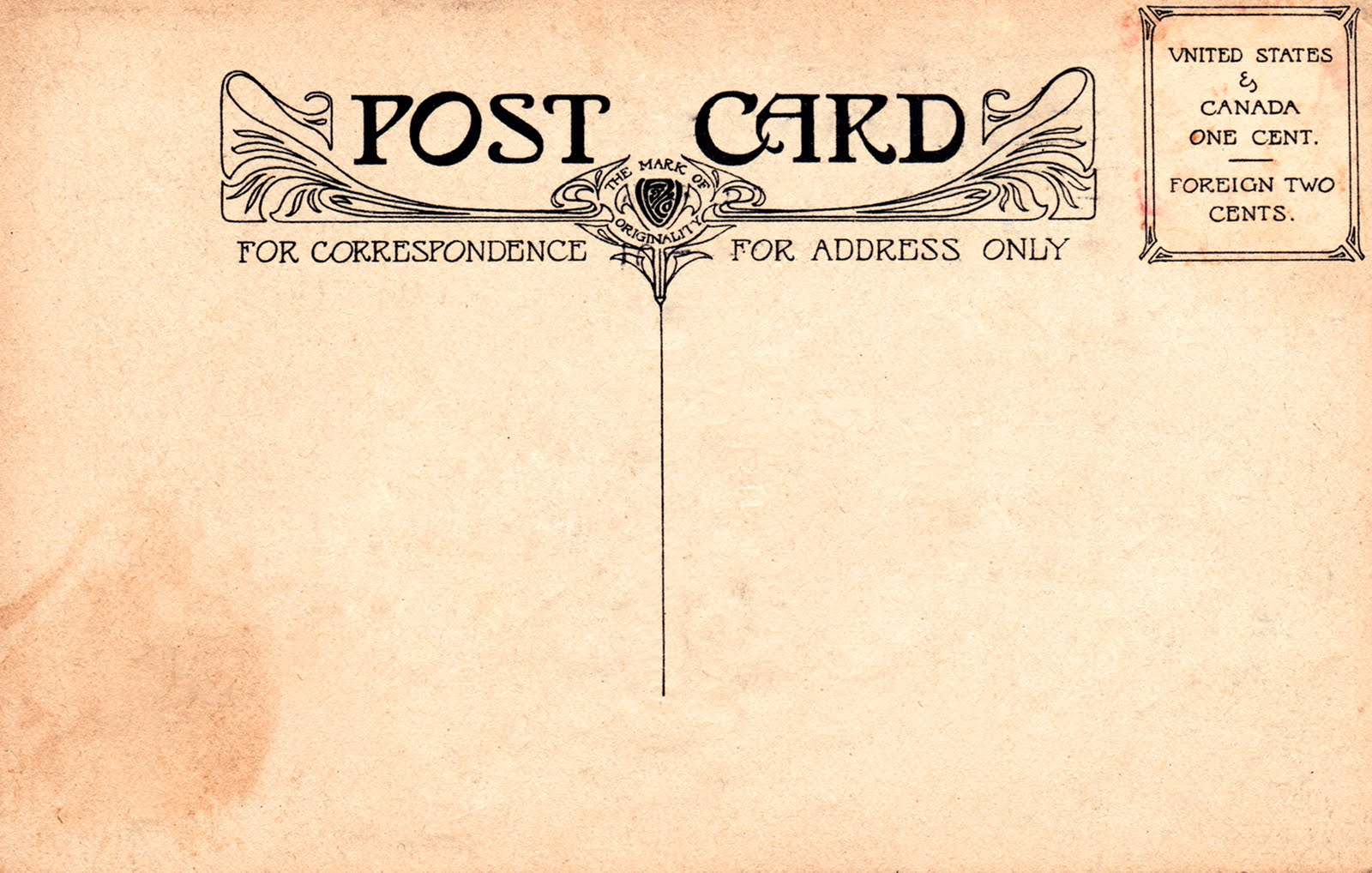 Aged Shabby Postcard Back Red Typography And Design  Free Vintage