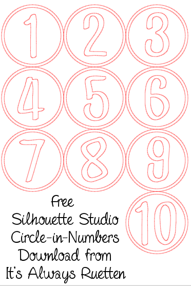 Free Silhouette Studio Circle-in-Number Download from It's Always Ruetten