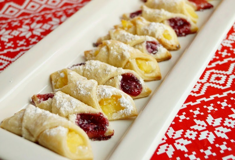 Kolachy Cookies Filled with Pineapple and Cream Cheese and Red Raspberry Preserves