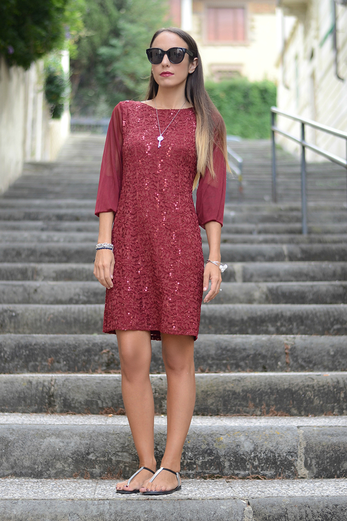 burgundy elegant sequin dress