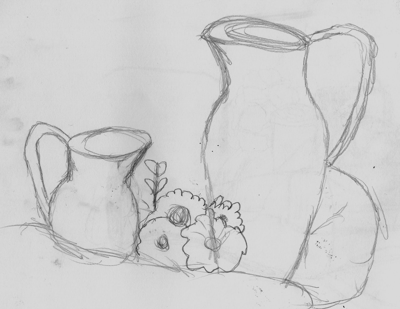 Week three was the continuation of still life but was a main focus on the fundamental principles of composition the first sketch was a quick ten minute
