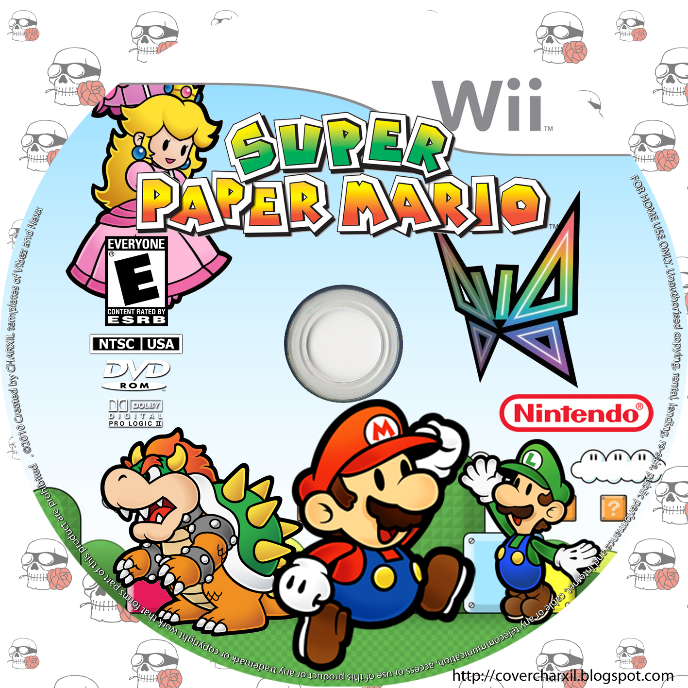 ... de WII-U , wii y pc. cover disc custom art: Super Paper Mario (wii