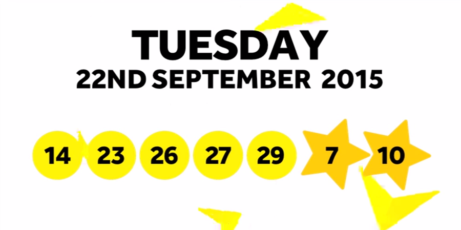 The National Lottery Tuesday EuroMillions' draw results from 22nd September 2015