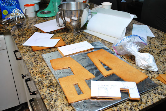 laying out pieces before assembling gingerbread house