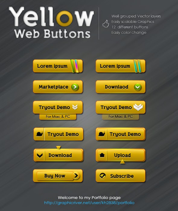 Yellow Web Buttons PSD