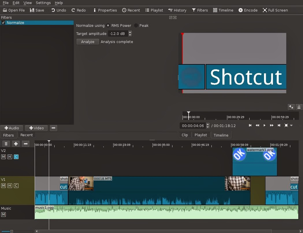 screenshot of Shotcut timeline v13.12.28