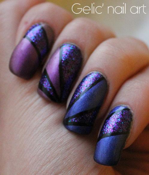 Gelic Nail Art Geometrical Nail Art In Blue And Purple