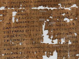 Damaged papyrus of Matthew's gospel