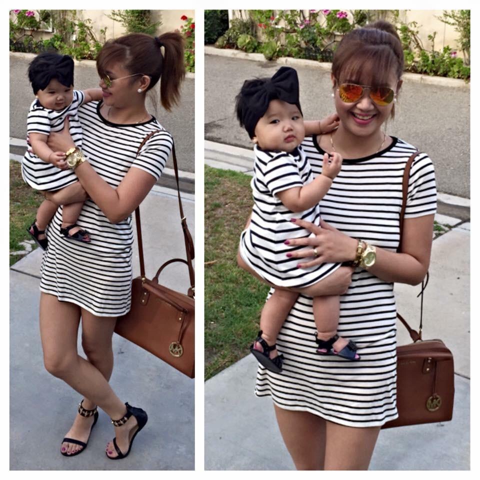 mama hija vestido rayas