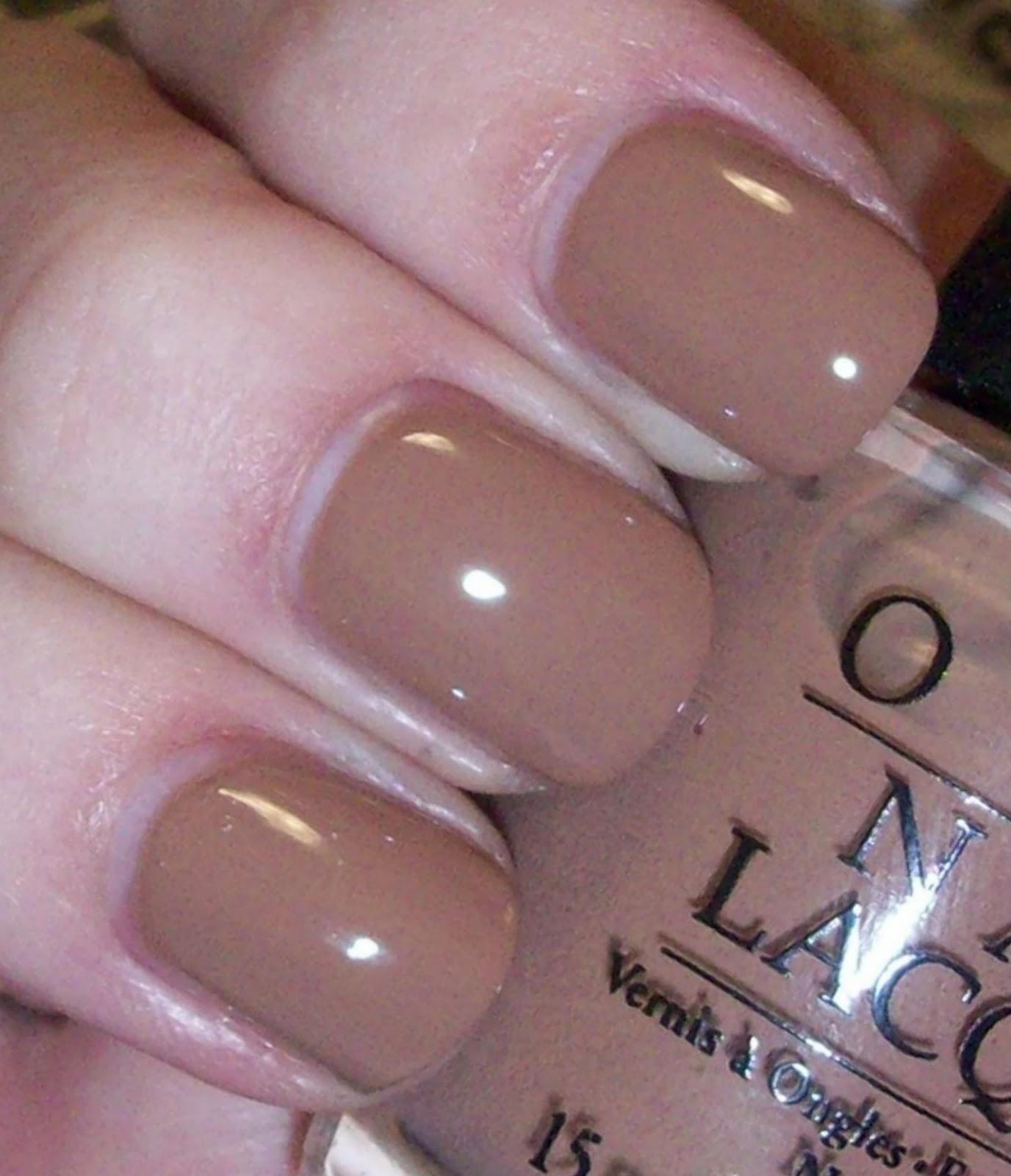 Tan colored acrylic nails
