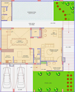 Golf Country, Yamuna Expressway :: Floor Plans,Golf Villa (325 sq. yd.):-Ground Floor Plan Plot Area: 1170.58 Sq. Ft.