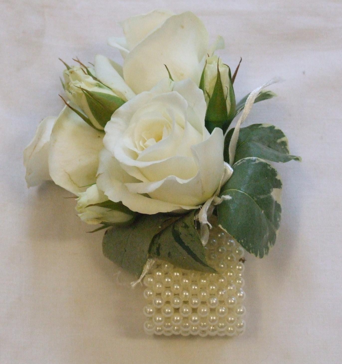 Wedding Corsage: RJ's Florist: Cream And Blue Wedding