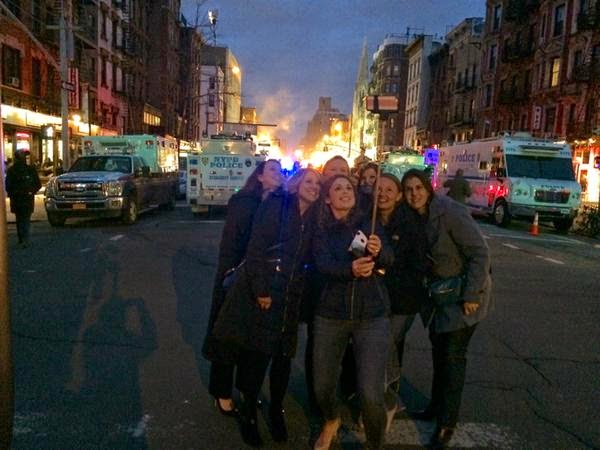 Selfie Stick Photo with East Village Fire in Background