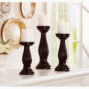 Better Homes and Gardens 3 Piece Mahogany Pillar Candle Holder