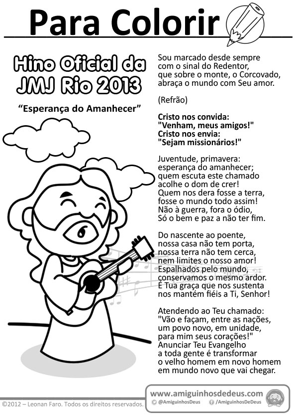Hino Oficial da JMJ Rio 2013 para imprimir