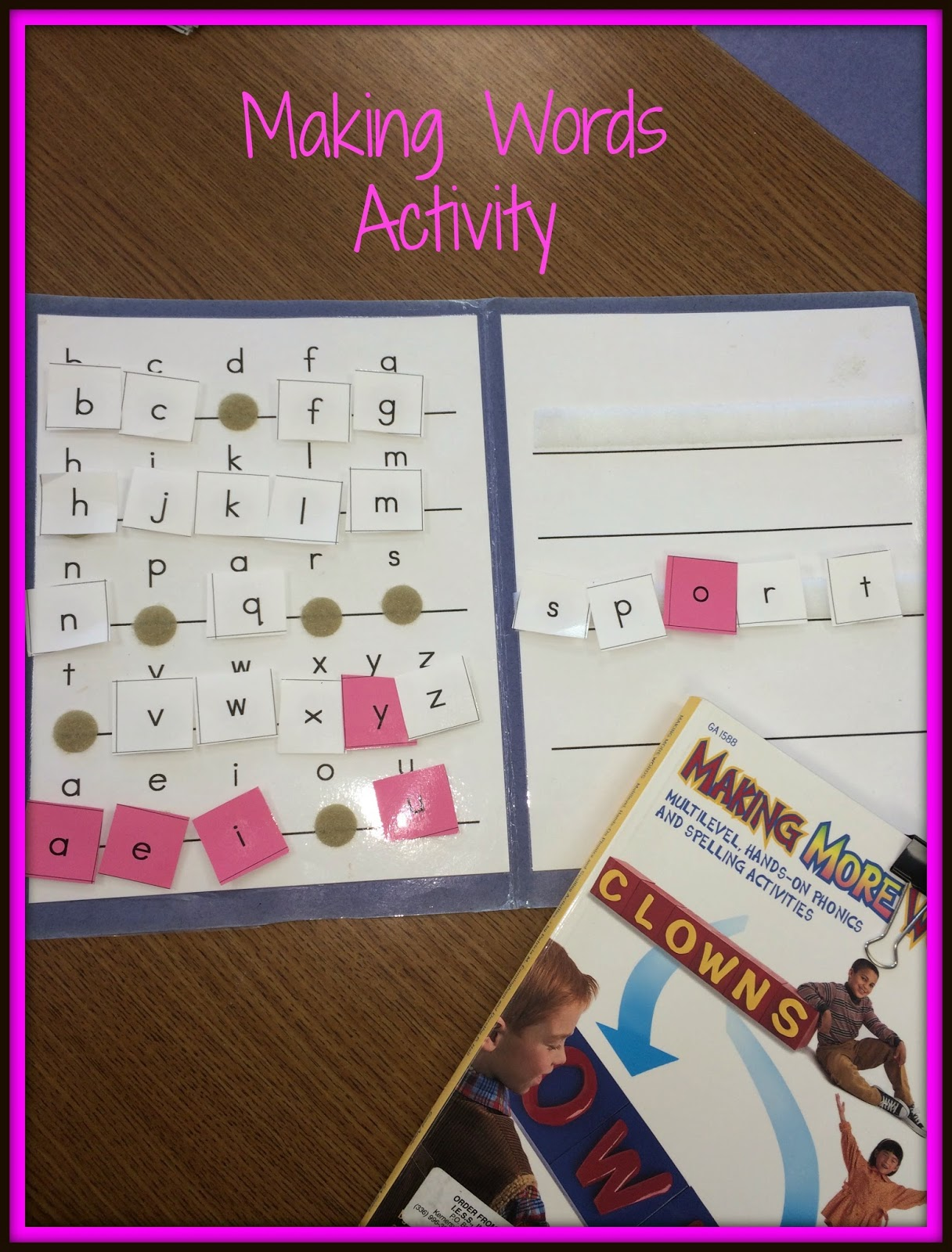 during the lesson children select the letters they are given to make words we begin with short words and continue on with longer words