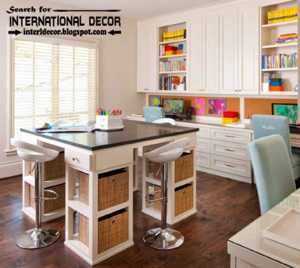 create warm study space for kids room, study space furniture and ideas