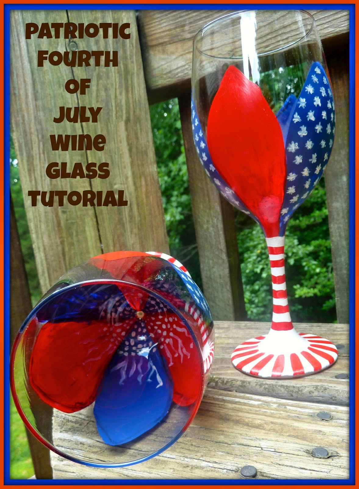 Make it easy crafts fourth of july floral painted wine for Wine glass painting tutorial