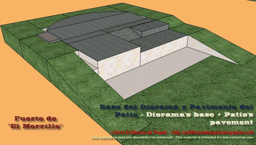 La base del diorama es parte del pavimento del patio del fuerte