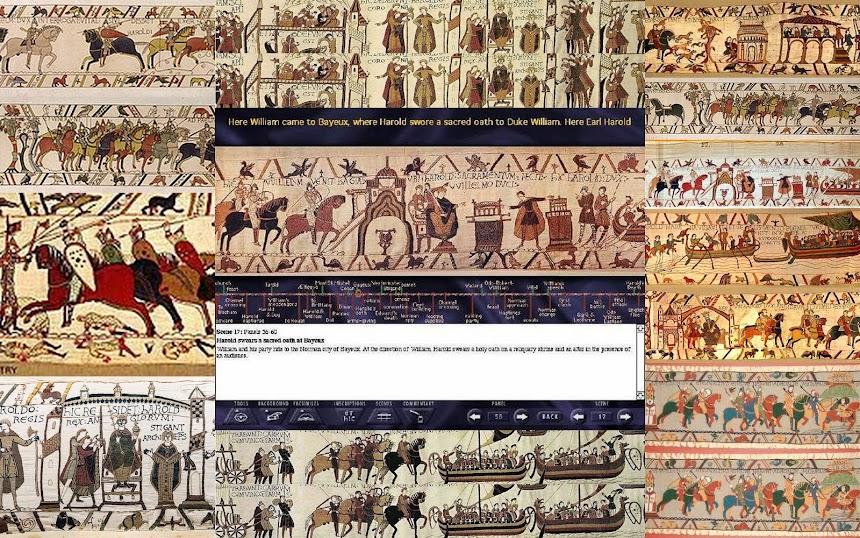 A Tapeçaria de Bayeux (França, 1066-1077, 50 cm x 700 cm).