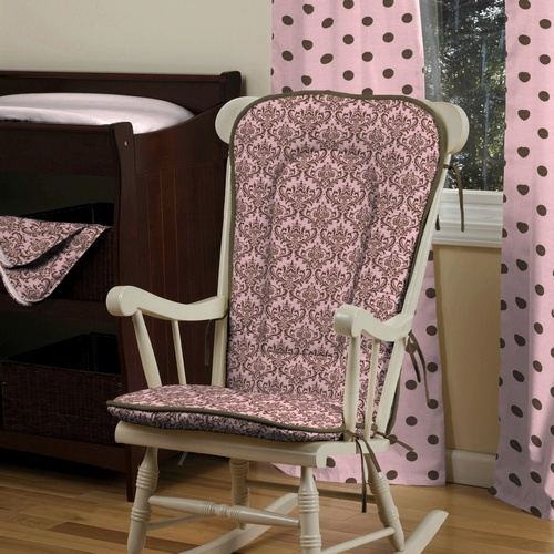 pink and chocolate damask nursery decor