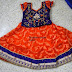 Orange Blue Jute Net Lehenga