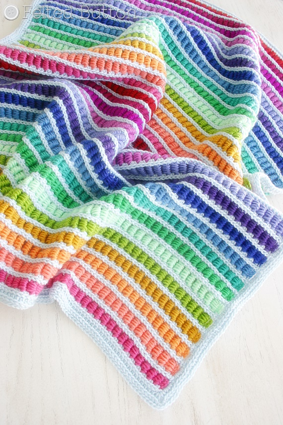 Felted Button Colorful Crochet Patterns The Blanket
