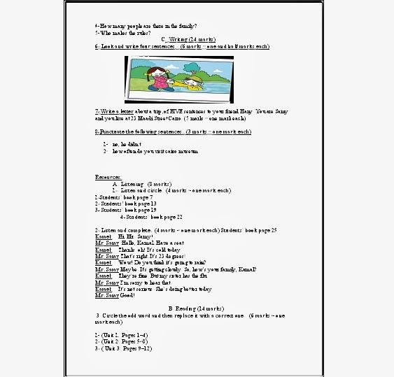 مواصفات ورقة امتحان اللغة الانجليزية للصف السادس الابتدائى المنهاج المصري 85.jpg