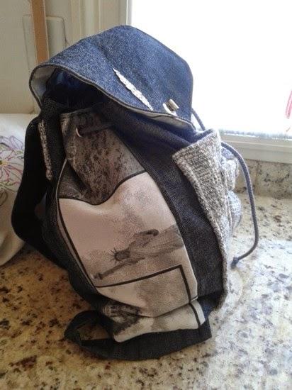 mochila tela vaquera