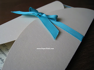 Gate fold turquoise wedding invitation card