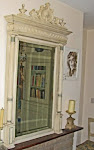 Antique French Painted Wood Mirror  with Carved pediment and Columns