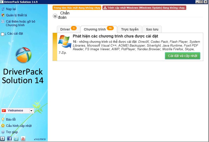 DriverPack Solution 14.9 R419 Final Full Edition,Bộ Driver cho mọi hệ điều hành Windows