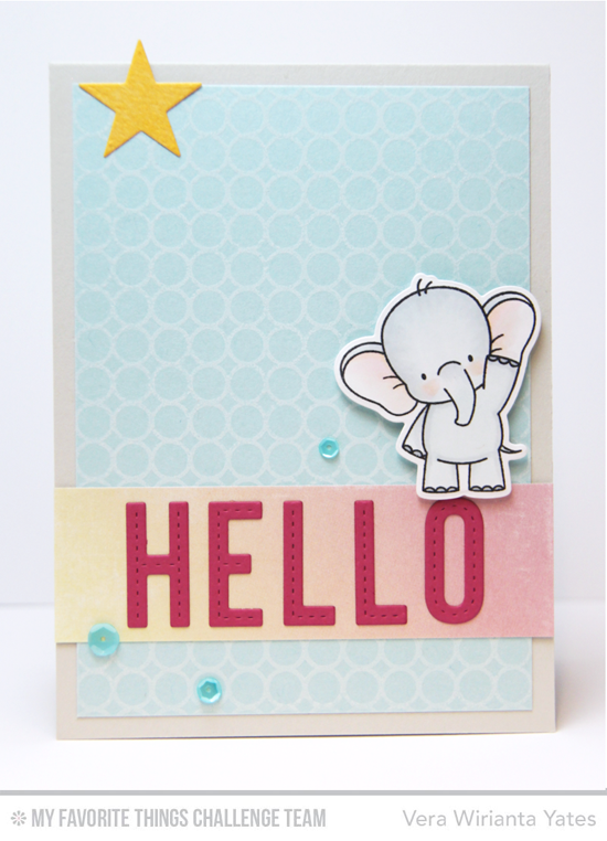 Sweet Elephant Hello Card by Vera Wirianta Yates featuring the Birdie Brown Adorable Elephants stamp set and Die-namics and the Laina Lamb Design Stitched Alphabet Die-namics #mftstamps