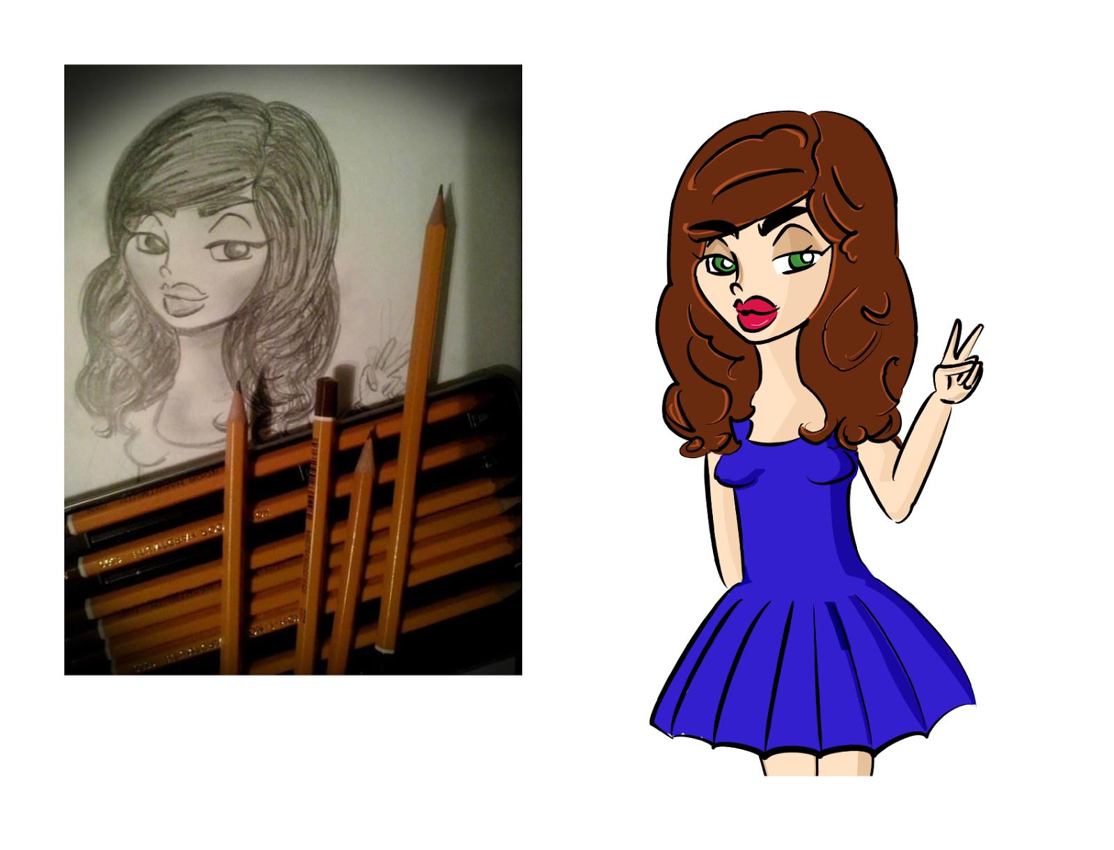 rysunek zrobiony ołówkiem kobieta