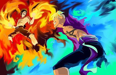 Apa perbedaan api merah Ace dengan Api biru Marco???