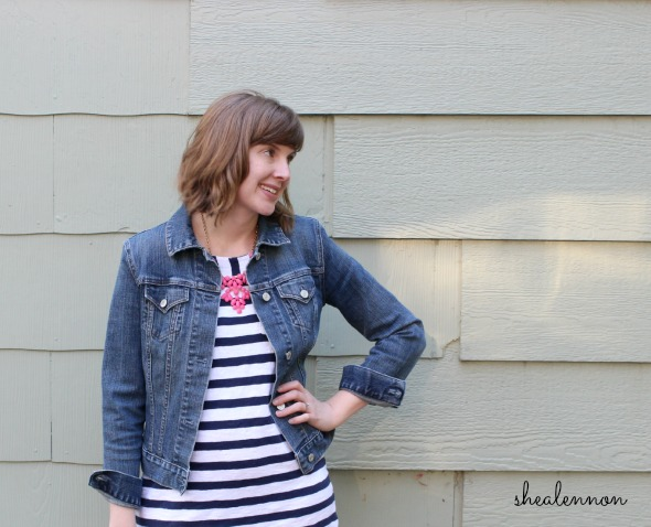 Denim Jacket with Stripes and a Statement Necklace | www.shealennon.com