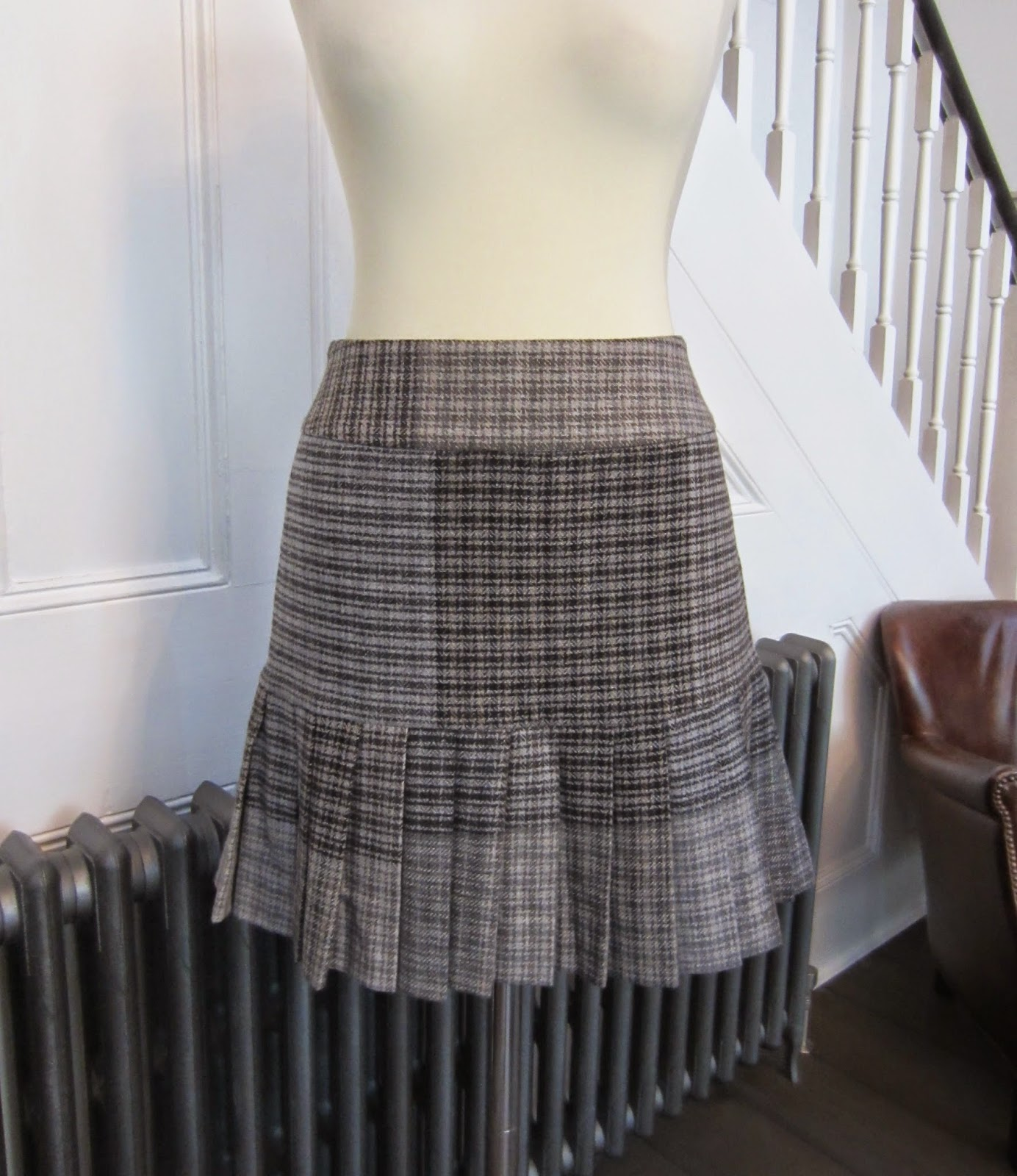 Vivienne Westwood Red Label Black/Grey/White Checked Wool Skirt