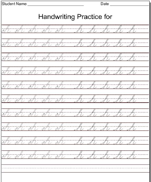 Kindergarten Worksheets Lowercase Cursive Letter h – Cursive Handwriting Worksheets