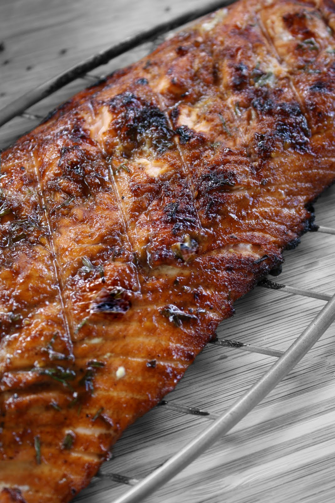 Dreams » Grilled Salmon with Pomegranate Molasses and Chives