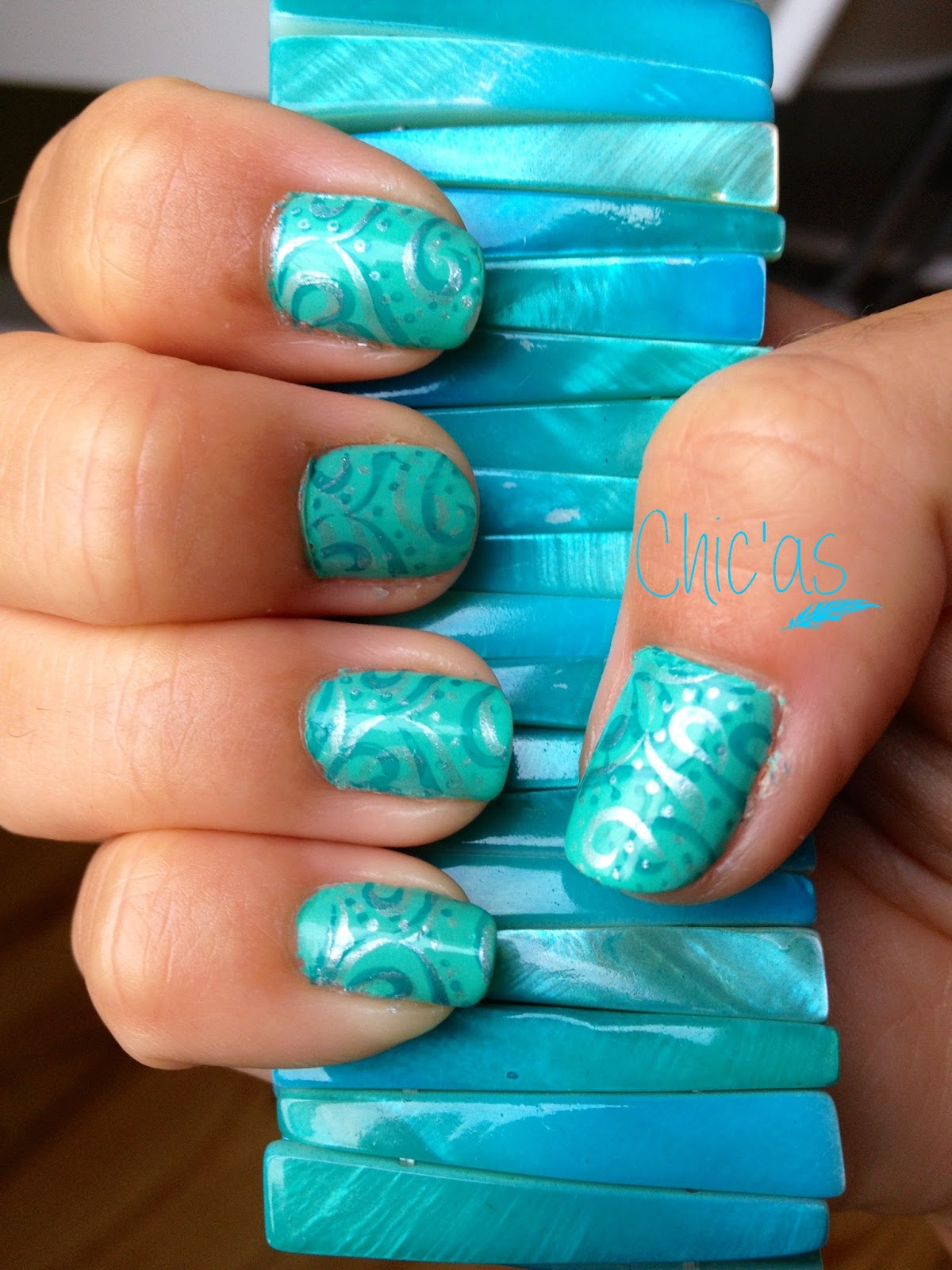Chic 39 as stamping nail art turquoise - Ongle d ete ...