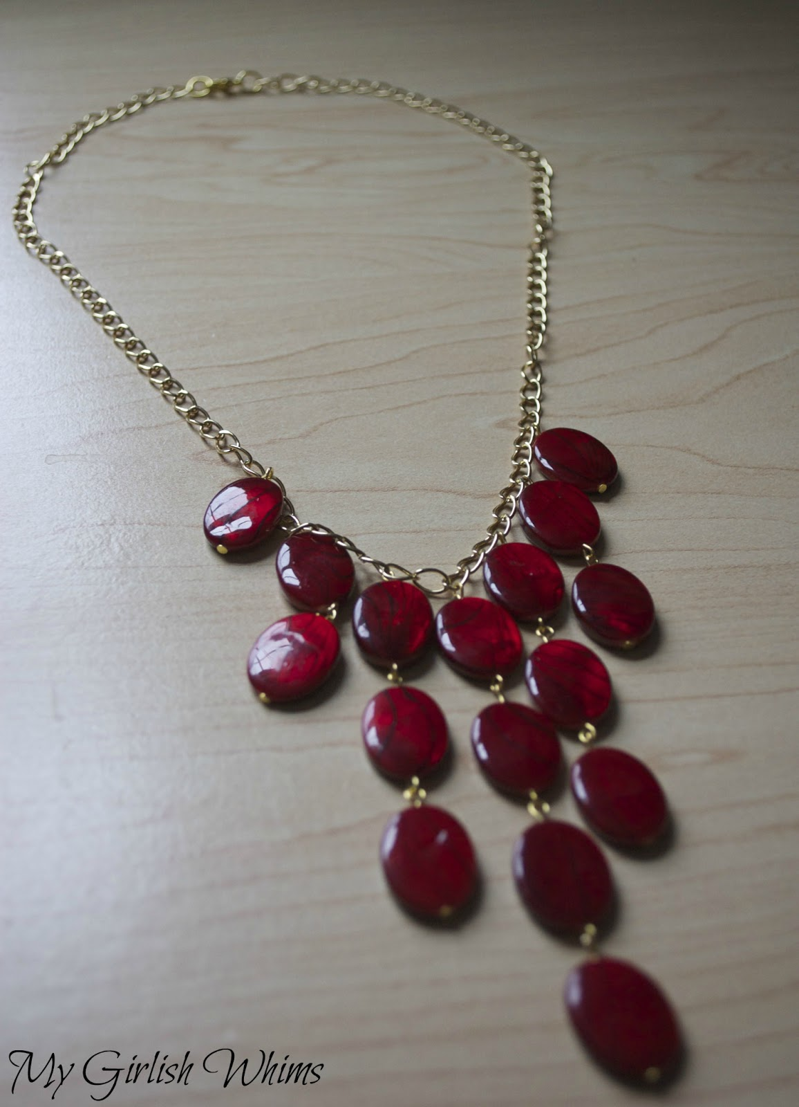 DIY Red Statement Necklace - My Girlish Whims