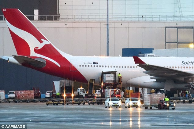 The coffins were carried on Qantas flight 42, which landed in Sydney just before dawn, at 6:13am