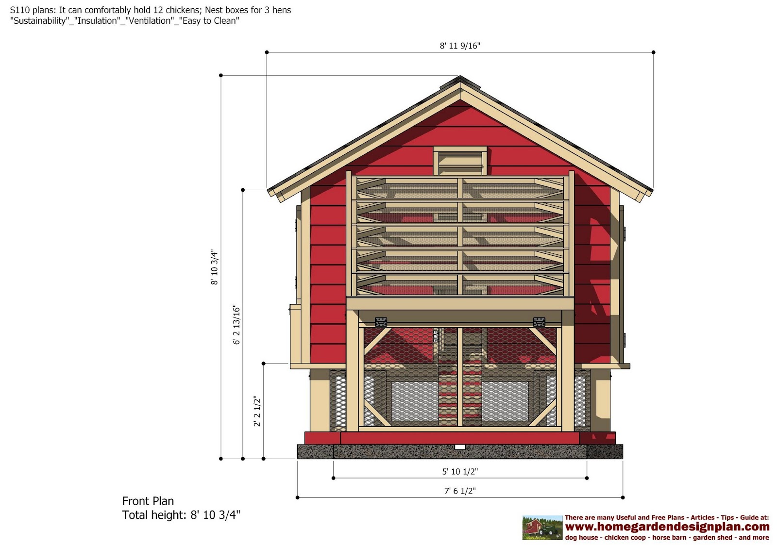 Home garden plans s110 chicken coop plans construction for A frame chicken
