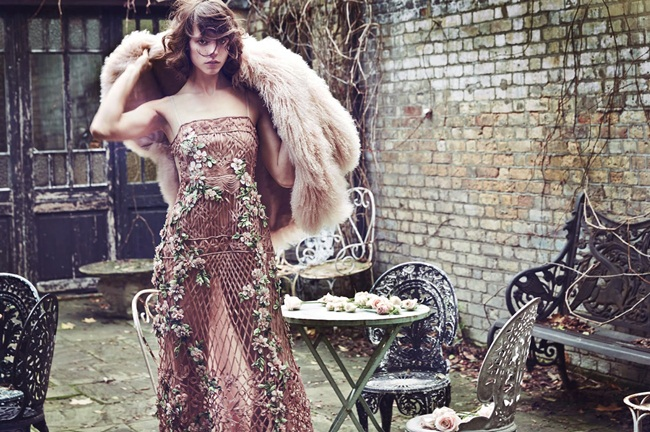 Alberta Ferretti 2015 SS Crochet Maxi Dress with Flowers Editorials
