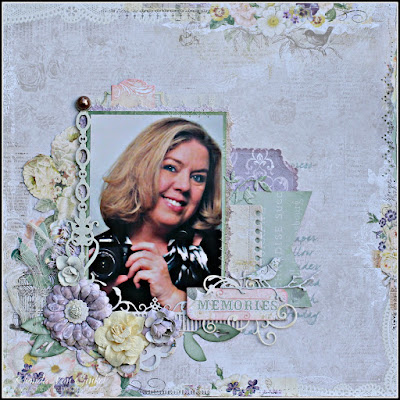 Memories page designed for C'est Magnifique featuring Blue Fern Studios papers by Guest Designer Rhonda Van Ginkel